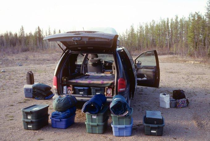 Van with gear, Wood Buffalo NP, NT