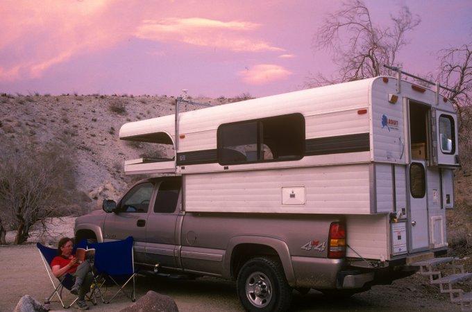 Eileen in campsite, Nude Wash, Anza-Borrego Desert SP, CA