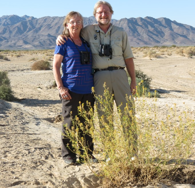 Eileen and Brian with Wislizenia, Palen Dunes, NE of Desert Center, CA