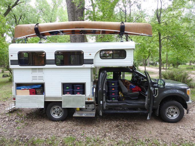 Camper showing storage, Johnson Lake SRA, NE