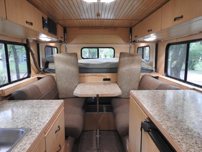 Camper interior looking to front, Johnson Lake SRA, NE