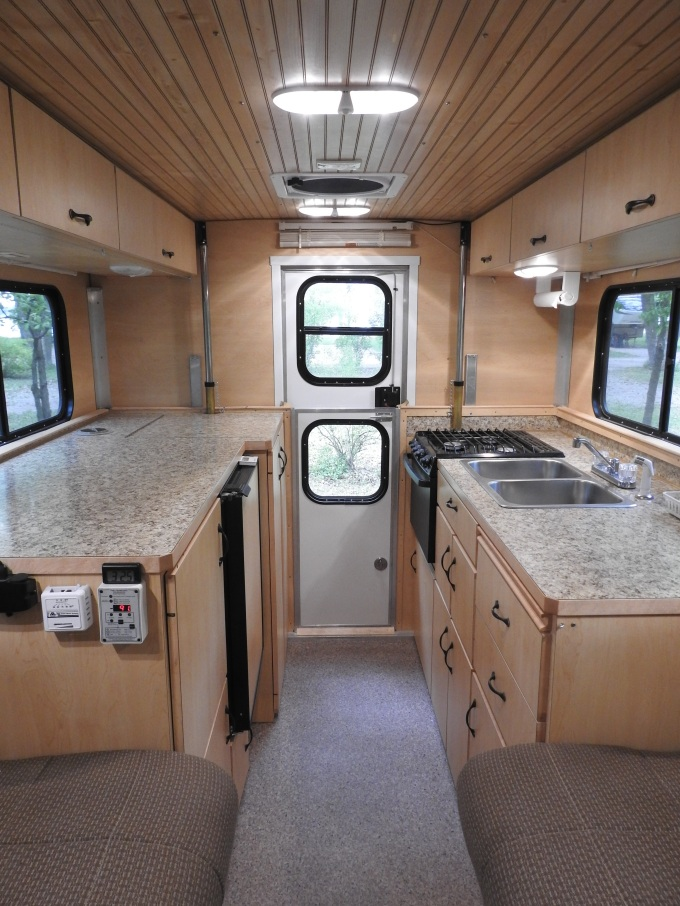 Camper interior looking to rear, Johnson Lake SRA, NE