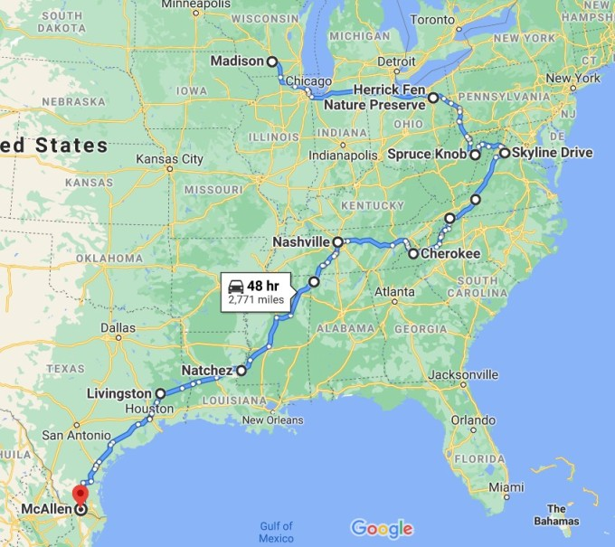 Approximate route from Wisconsin to South Texas, October 2020.